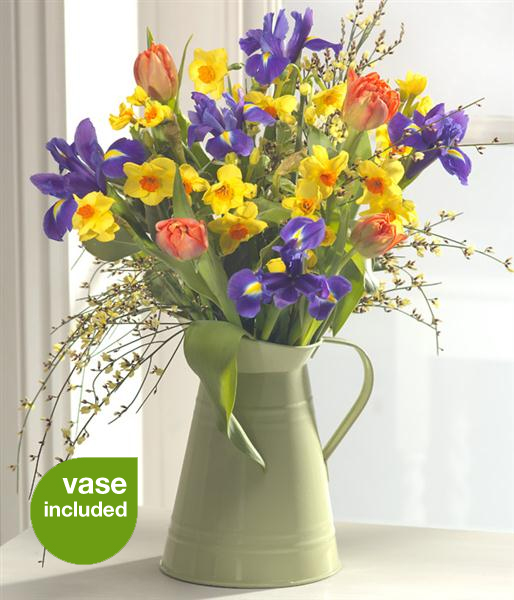 Good morning vase display spring flowers by rays florist mightylinksfo