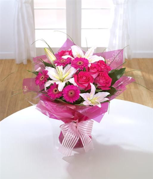 Raspberry Ripple Hand Tied Bouquet Flower Delivery By Rays Florist