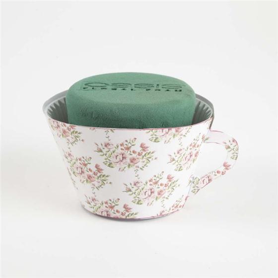 Oasis Cupcakes tea cup pink floral design